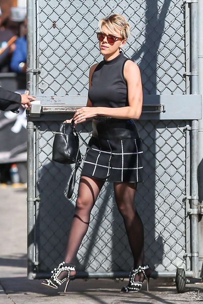Scarlett Johansson in Mini Skirt at Jimmy Kimmel Live -09