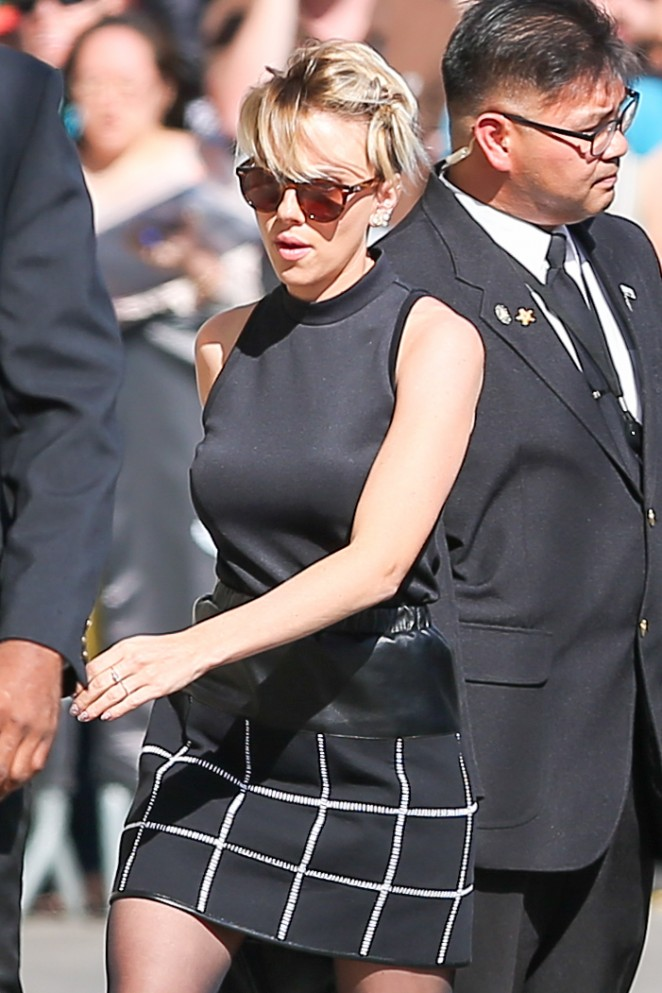 Scarlett Johansson in Mini Skirt at 'Jimmy Kimmel Live!' in Hollywood