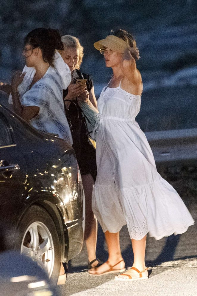 Scarlett Johansson in White Dress out in Greece