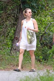 Scarlett Johansson on a beach in the Hamptons