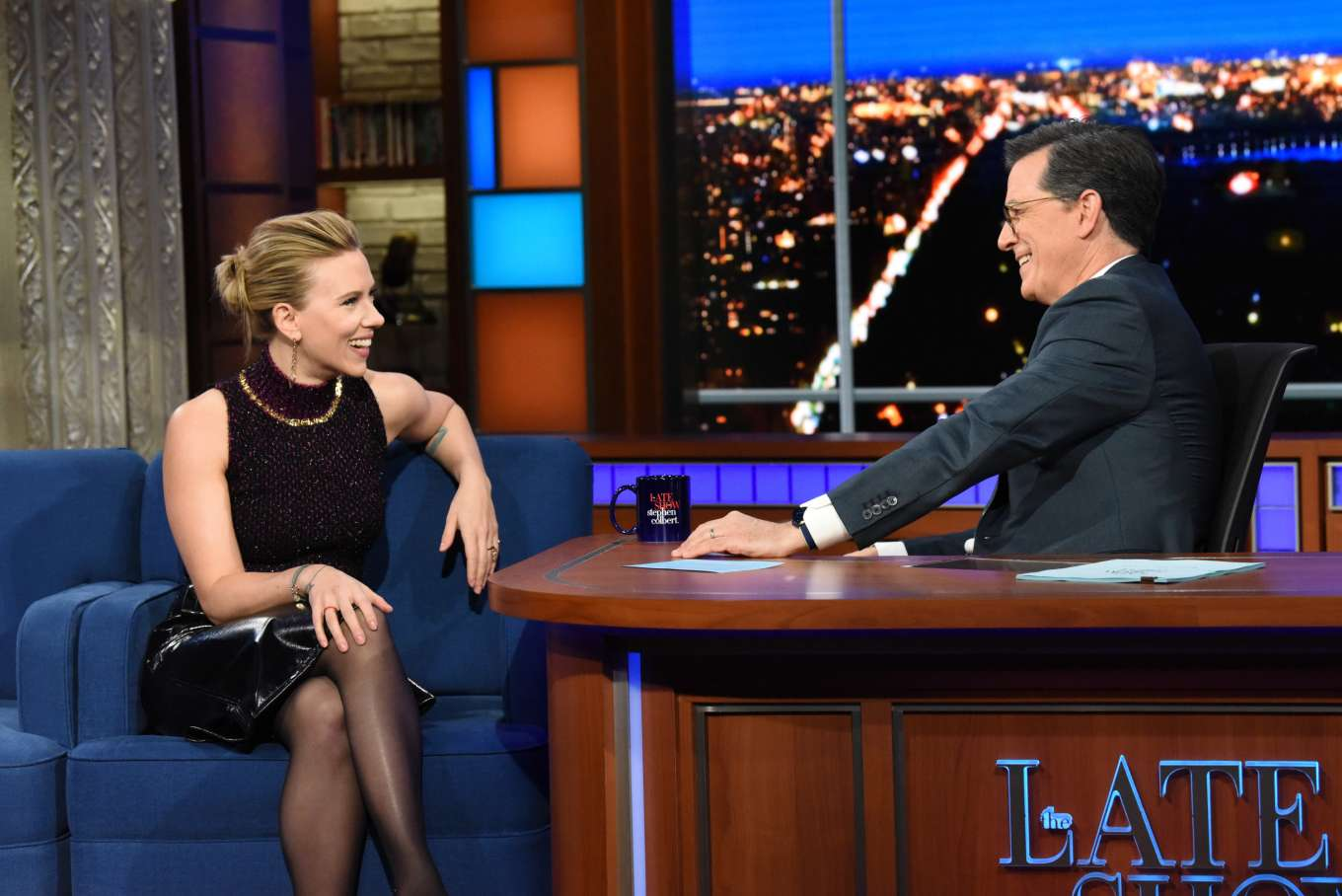 Scarlett Johansson - On The Late Show with Stephen Colbert in NYC