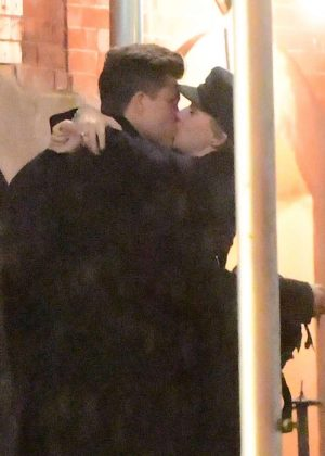 Scarlett Johansson shares a kiss with Colin Jost in NYC