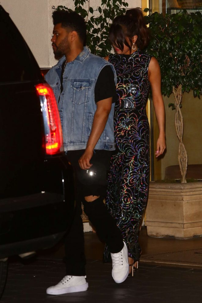 Selena Gomez and The Weeknd Leaving the Sunset Tower hotel in LA