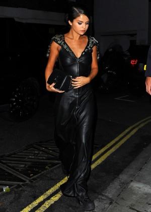 Selena Gomez in Black Leather Dress -01