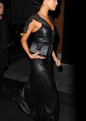 Selena Gomez in Black Leather Dress -02