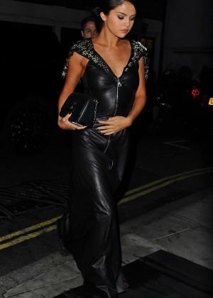 Selena Gomez in Black Leather Dress -03