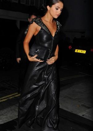 Selena Gomez in Black Leather Dress -07