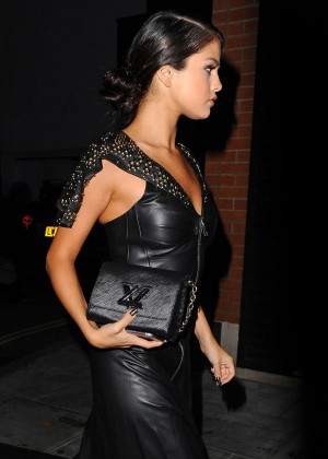 Selena Gomez in Black Leather Dress in London