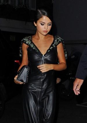 Selena Gomez in Black Leather Dress -10