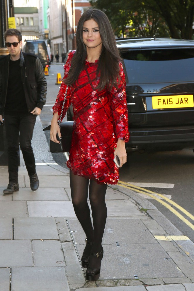 Selena Gomez - Arriving at KISS FM Studios in London