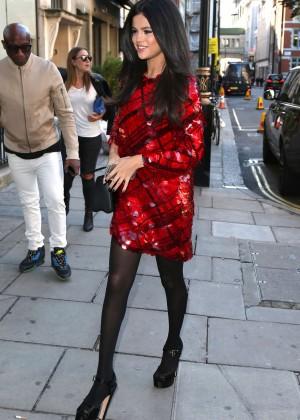 Selena Gomez in Red Mini Dress -04