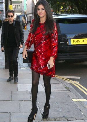 Selena Gomez in Red Mini Dress -06