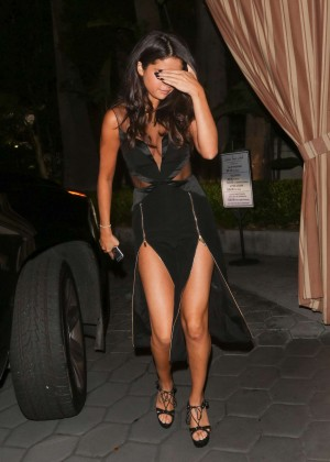 Selena Gomez in Black Dress at the Sunset Tower Hotel in LA