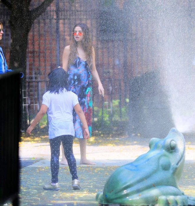 Selena Gomez at a Water Playground -07