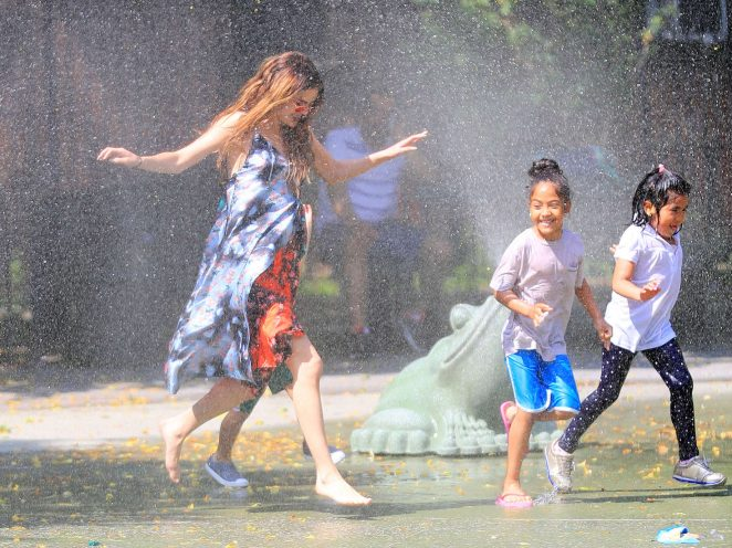 Selena Gomez at a Water Playground -10