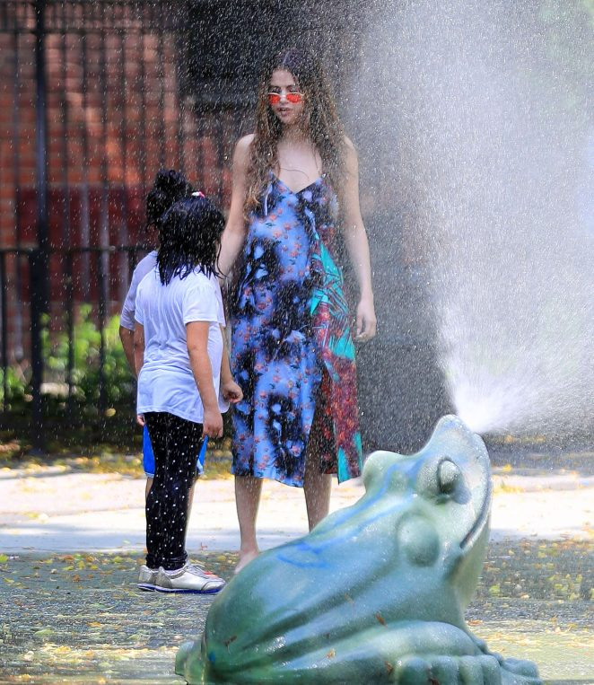 Selena Gomez at a Water Playground -16