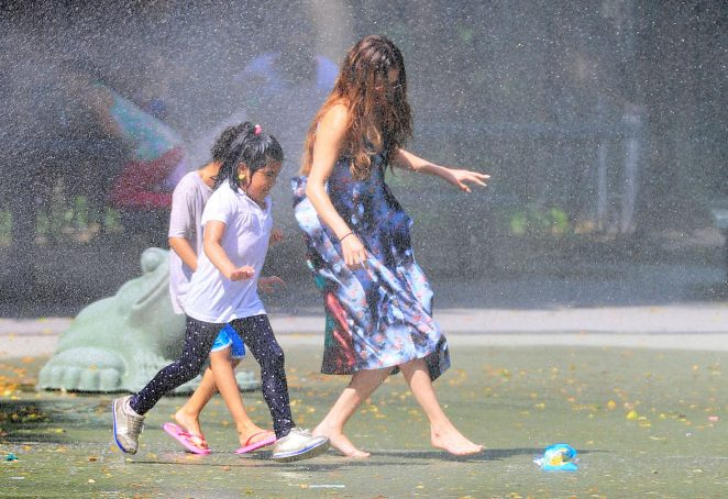 Selena Gomez at a Water Playground -21