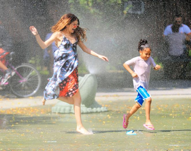 Selena Gomez at a Water Playground -25