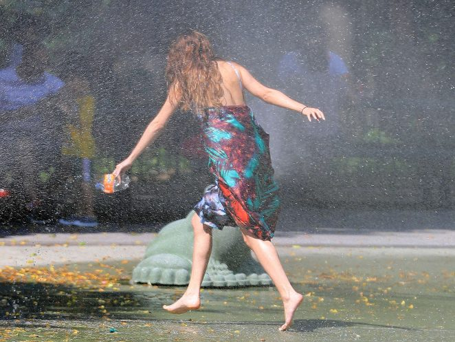 Selena Gomez at a Water Playground -27