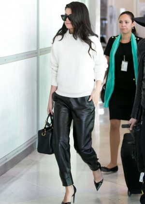Selena Gomez in Leather at Charles-de-Gaulle Airport in Paris