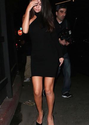 Selena Gomez Leggy in Mini Dress -01