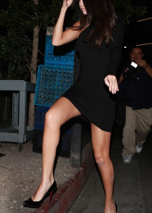 Selena Gomez Leggy in Mini Dress out in Beverly Hills