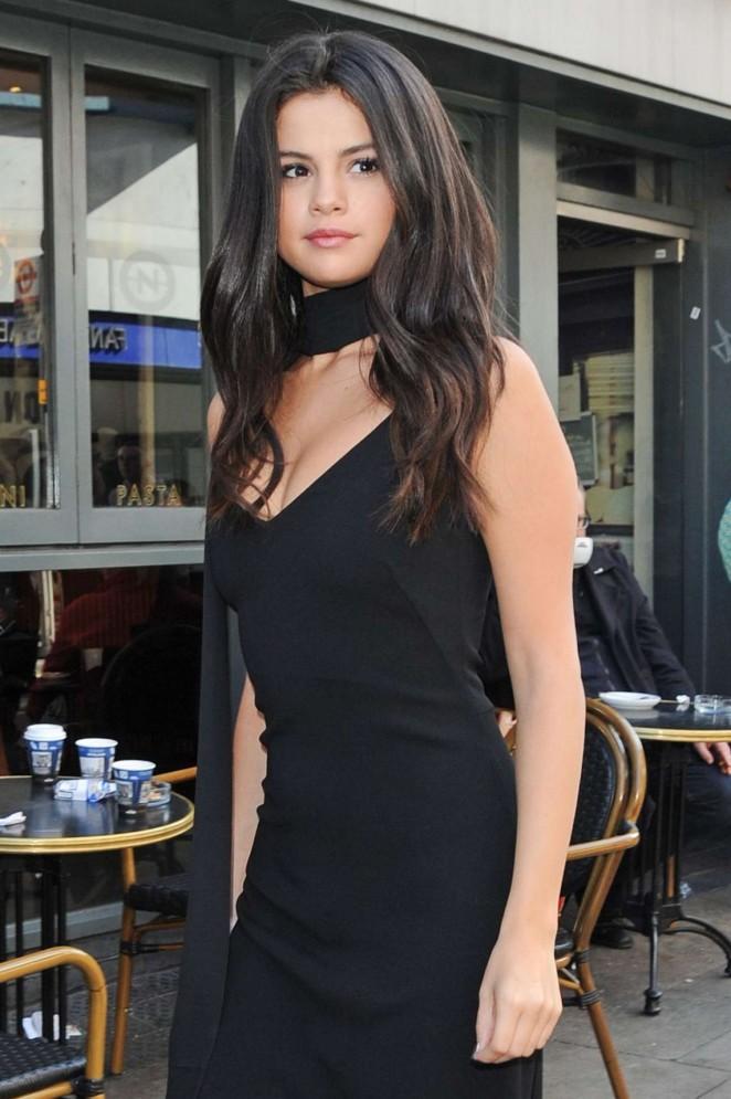 Selena Gomez in Black Dress at Eurostar train station in London