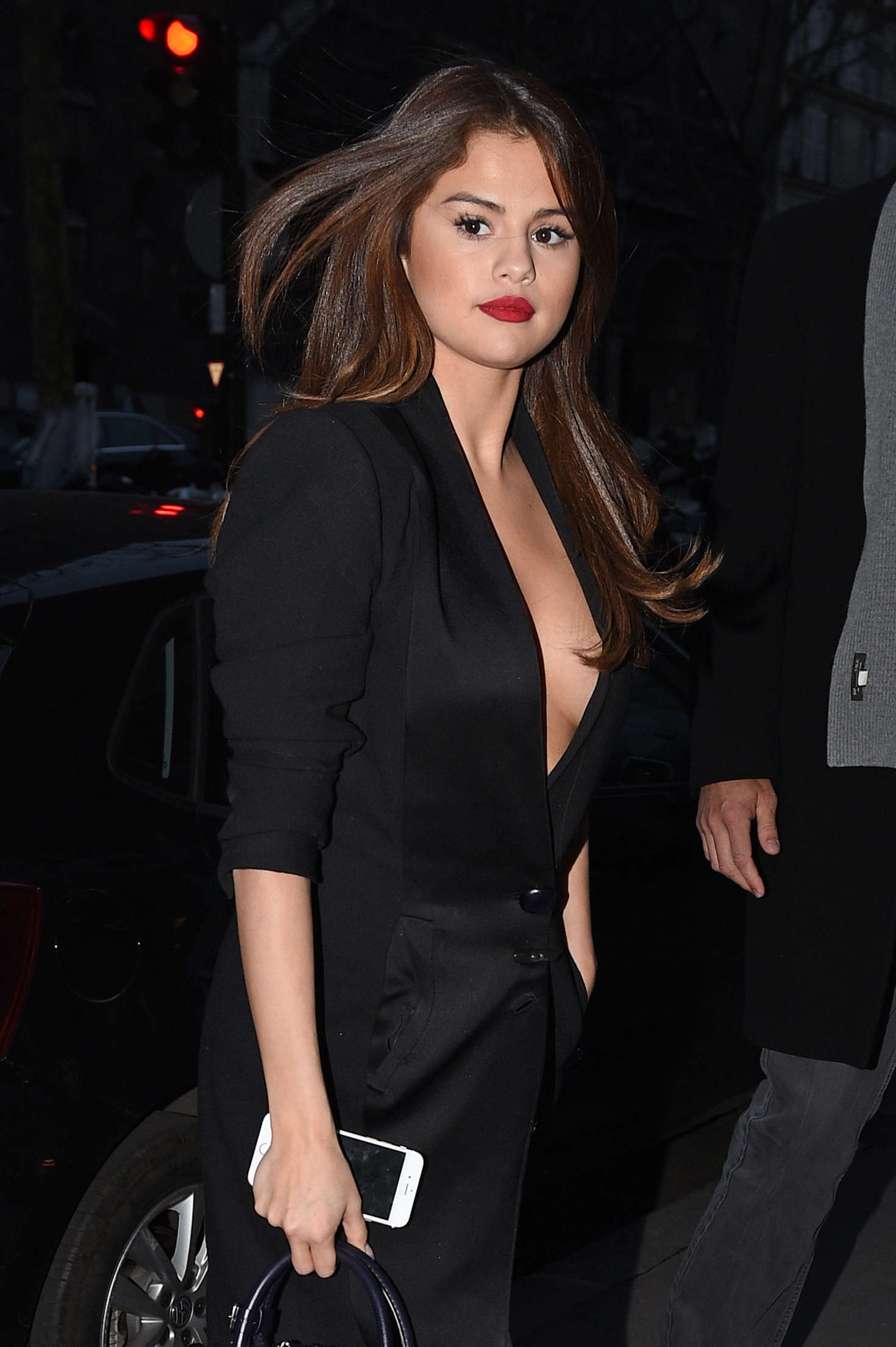 Selena Gomez in Black Dress Leaving Hotel in Paris