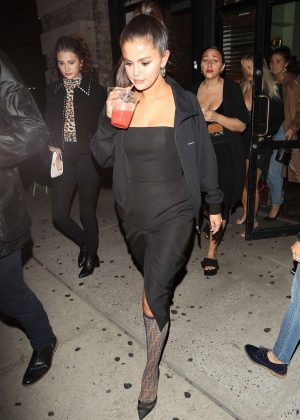 Selena Gomez in Black Dress - Night out in NYC