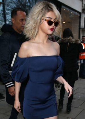 Selena Gomez in Blue Mini Dress - Leaves BBC Radio 1 in London