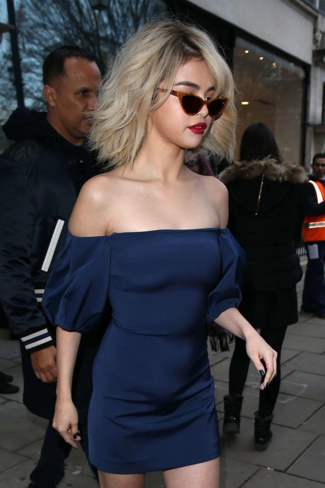 Selena Gomez in Blue Mini Dress - Leaves BBC Radio 1 in London