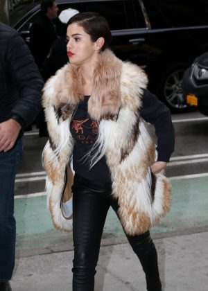 Selena Gomez in Fur Coat - Heads to a recording studio in NYC