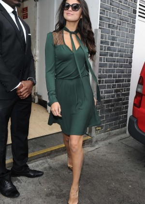 Selena Gomez Leggy in Green Dress -01
