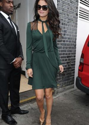 Selena Gomez Leggy in Green Dress -03