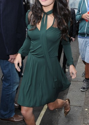 Selena Gomez Leggy in Green Dress -04