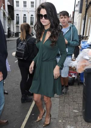 Selena Gomez Leggy in Green Dress -05