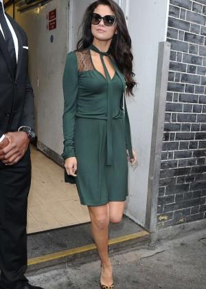 Selena Gomez Leggy in Green Dress -09