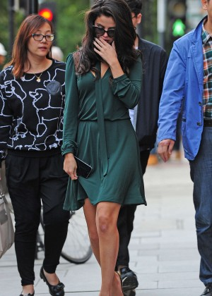 Selena Gomez Leggy in Green Dress -10