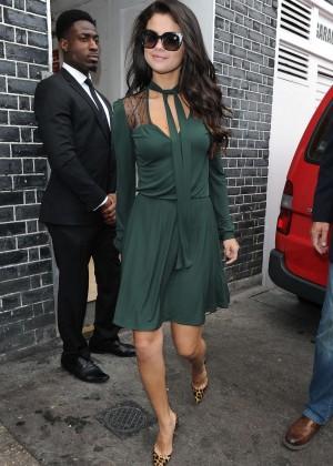 Selena Gomez Leggy in Green Dress -11