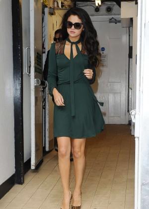 Selena Gomez Leggy in Green Dress -12