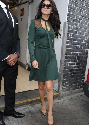Selena Gomez Leggy in Green Dress -14