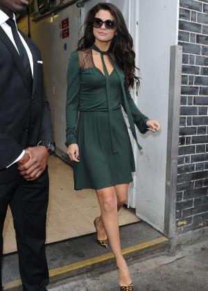 Selena Gomez Leggy in Green Dress -18