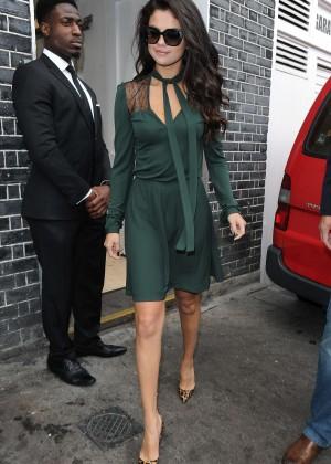 Selena Gomez Leggy in Green Dress -19