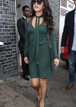 Selena Gomez Leggy in Green Dress -20