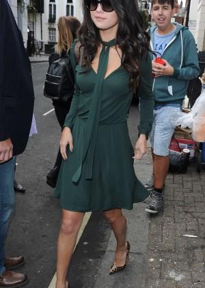 Selena Gomez Leggy in Green Dress -21