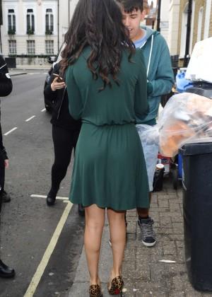 Selena Gomez Leggy in Green Dress -22