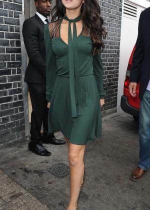 Selena Gomez Leggy in Green Dress -24
