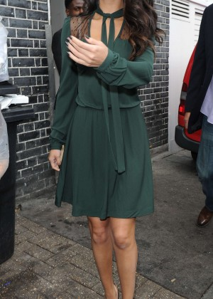 Selena Gomez Leggy in Green Dress -25
