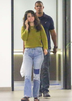 Selena Gomez in Jeans and Green Sweater - Out in Los Angeles