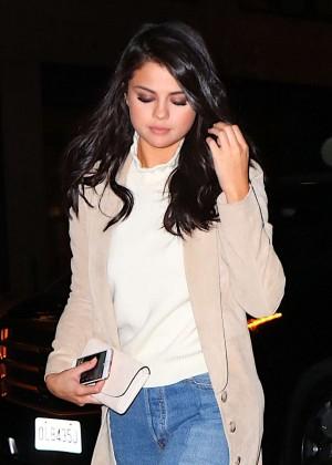Selena Gomez in Jeans at Nobu Restaurant in New York